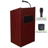 Oklahoma Sound M6010-MY/LWM-5 Mahogany Finish Aristocrat Lectern with Sound, Wireless Handheld Microphone, and Rechargeable Battery
