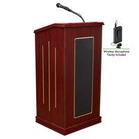Oklahoma Sound 711-MY/LWM-6 Mahogany Finish Prestige Lectern with Sound and Wireless Tie-Clip Microphone