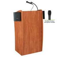 Oklahoma Sound 611-S/LWM-5 Wild Cherry Finish Vision Lectern with Sound and Wireless Handheld Microphone