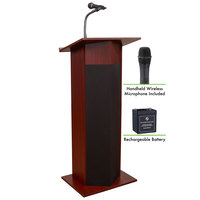 Oklahoma Sound M111PLS-MY/LWM-5 Mahogany Power Plus Lectern with Sound, Wireless Handheld Microphone, and Rechargeable Battery