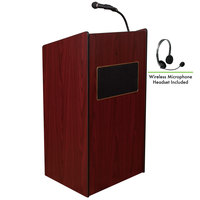 Oklahoma Sound 6010-MY/LWM-7 Mahogany Finish Aristocrat Lectern with Sound and Wireless Headset Microphone