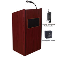 Oklahoma Sound M6010-MY/LWM-6 Mahogany Finish Aristocrat Lectern with Sound, Wireless Tie-Clip Microphone, and Rechargeable Battery