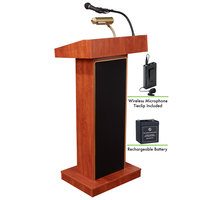 Oklahoma Sound M800X-CH/LWM-6 Cherry Finish Orator Lectern with Sound, Wireless Tie-Clip Microphone, and Rechargeable Battery