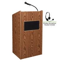 Oklahoma Sound 6010-MO/LWM-7 Medium Oak Finish Aristocrat Lectern with Sound and Wireless Headset Microphone