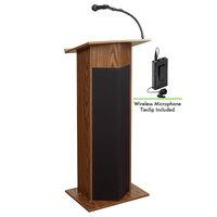 Oklahoma Sound 111PLS-MO/LWM-6 Medium Oak Power Plus Lectern with Sound and Wireless Tie-Clip Microphone