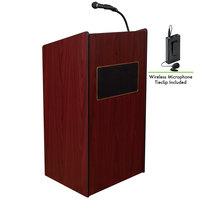 Oklahoma Sound 6010-MY/LWM-6 Mahogany Finish Aristocrat Lectern with Sound and Wireless Tie-Clip Microphone