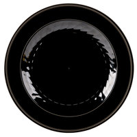 "WNA Comet MP75BKGLD 7 1/2"" Black Masterpiece Plastic Plate with Gold Accent Bands - 150/Case"
