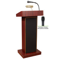 Oklahoma Sound 800X-MY/LWM-5 Mahogany Finish Orator Lectern with Sound and Wireless Handheld Microphone