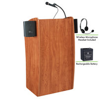 Oklahoma Sound M611-S/LWM-7 Wild Cherry Finish Vision Lectern with Sound, Wireless Headset Microphone, and Rechargeable Battery