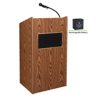 Oklahoma Sound M6010-MO Medium Oak Finish Aristocrat Lectern with Sound and Rechargeable Battery