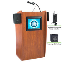 Oklahoma Sound M612-S/LWM-6 Wild Cherry Finish Vision Lectern with LCD Screen, Sound, Wireless Tie-Clip Microphone, and Rechargeable Battery