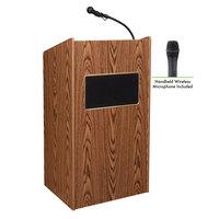 Oklahoma Sound 6010-MO/LWM-5 Medium Oak Finish Aristocrat Lectern with Sound and Wireless Handheld Microphone