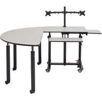 National Public Seating SSTDT-SC-GY Sit + Stand Teacher's Desk and 59 1/2 inch Grey Nebula Semi-Circle Table