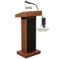 Oklahoma Sound 800X-MO/LWM-6 Medium Oak Finish Orator Lectern with Sound and Wireless Tie-Clip Microphone
