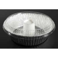 D&W Fine Pack D61 8 inch Aluminum Foil Angel Food Pan with Clear Dome Lid 100/Case