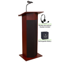 Oklahoma Sound M111PLS-MY/LWM-7 Mahogany Power Plus Lectern with Sound, Wireless Headset Microphone, and Rechargeable Battery