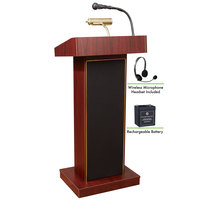 Oklahoma Sound M800X-MY/LWM-7 Mahogany Finish Orator Lectern with Sound, Wireless Headset Microphone, and Rechargeable Battery