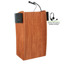 Oklahoma Sound 611-S/LWM-7 Wild Cherry Finish Vision Lectern with Sound and Wireless Headset Microphone