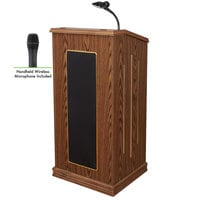 Oklahoma Sound 711-MO/LWM-5 Medium Oak Finish Prestige Lectern with Sound and Wireless Handheld Microphone