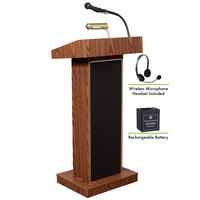 Oklahoma Sound M800X-MO/LWM-7 Medium Oak Finish Orator Lectern with Sound, Wireless Headset Microphone, and Rechargeable Battery