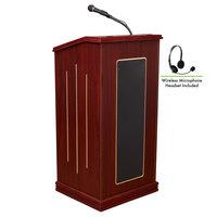 Oklahoma Sound 711-MY/LWM-7 Mahogany Finish Prestige Lectern with Sound and Wireless Headset Microphone