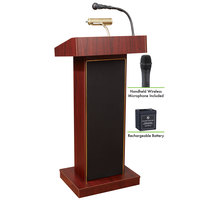 Oklahoma Sound M800X-MY/LWM-5 Mahogany Finish Orator Lectern with Sound, Wireless Handheld Microphone, and Rechargeable Battery