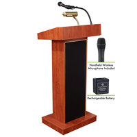 Oklahoma Sound M800X-CH/LWM-5 Cherry Finish Orator Lectern with Sound, Wireless Handheld Microphone, and Rechargeable Battery