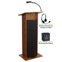 Oklahoma Sound M111PLS-MO/LWM-7 Medium Oak Power Plus with Sound, Wireless Headset Microphone, and Rechargeable Battery