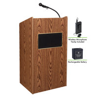 Oklahoma Sound M6010-MO/LWM-6 Medium Oak Finish Aristocrat Lectern with Sound, Wireless Tie-Clip Microphone, and Rechargeable Battery