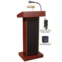 Oklahoma Sound M800X-MY/LWM-6 Mahogany Finish Orator Lectern with Sound, Wireless Tie-Clip Microphone, and Rechargeable Battery