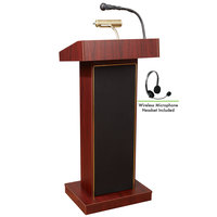 Oklahoma Sound 800X-MY/LWM-7 Mahogany Finish Orator Lectern with Sound and Wireless Headset Microphone