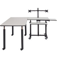 National Public Seating SSTDT-RC-GY Sit + Stand Teacher's Desk and 29 3/4 inch x 59 1/2 inch Grey Nebula Rectangular Table