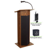 Oklahoma Sound M111PLS-MO/LWM-6 Medium Oak Power Plus with Sound, Wireless Tie-Clip Microphone, and Rechargeable Battery
