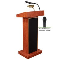 Oklahoma Sound 800X-CH/LWM-5 Cherry Finish Orator Lectern with Sound and Wireless Handheld Microphone