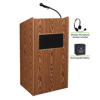 Oklahoma Sound M6010-MO/LWM-7 Medium Oak Finish Aristocrat Lectern with Sound, Wireless Headset Microphone, and Rechargeable Battery