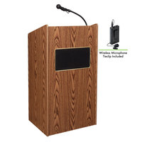 Oklahoma Sound 6010-MO/LWM-6 Medium Oak Finish Aristocrat Lectern with Sound and Wireless Tie-Clip Microphone