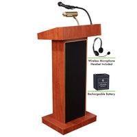 Oklahoma Sound M800X-CH/LWM-7 Cherry Finish Orator Lectern with Sound, Wireless Headset Microphone, and Rechargeable Battery