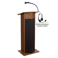 Oklahoma Sound 111PLS-MO/LWM-7 Medium Oak Power Plus Lectern with Sound and Wireless Headset Microphone