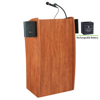 Oklahoma Sound M611-S Wild Cherry Finish Vision Lectern with Sound and Rechargeable Battery