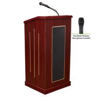 Oklahoma Sound 711-MY/LWM-5 Mahogany Finish Prestige Lectern with Sound and Wireless Handheld Microphone