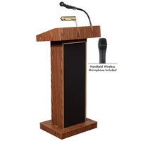 Oklahoma Sound 800X-MO/LWM-5 Medium Oak Finish Orator Lectern with Sound and Wireless Handheld Microphone