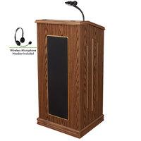 Oklahoma Sound 711-MO/LWM-7 Medium Oak Finish Prestige Lectern with Sound and Wireless Headset Microphone