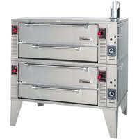 Garland GPD48-2 Natural Gas 63 inch Pyro Double Deck Pizza Oven - 192,000 BTU