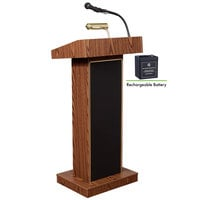 Oklahoma Sound M800X-MO Medium Oak Finish Orator Lectern with Sound and Rechargeable Battery