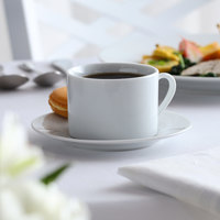 10 Strawberry Street Catering Pack CATCOM-RD-9 Bright White 8 oz. Porcelain Cup and Saucer   - 24/Case
