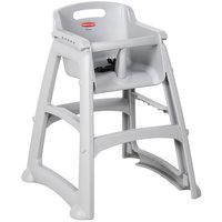 Rubbermaid FG780608PLAT Platinum Restaurant High Chair without Wheels - Assembled