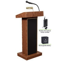 Oklahoma Sound M800X-MO/LWM-6 Medium Oak Finish Orator Lectern with Sound, Wireless Tie-Clip Microphone, and Rechargeable Battery