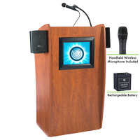 Oklahoma Sound M612-S/LWM-5 Wild Cherry Finish Vision Lectern with LCD Screen, Sound, Wireless Handheld Microphone, and Rechargeable Battery