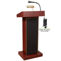 Oklahoma Sound 800X-MY/LWM-6 Mahogany Finish Orator Lectern with Sound and Wireless Tie-Clip Microphone