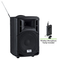 Oklahoma Sound PRA-8000/PRA8-6 Pro Audio Bluetooth Wireless Portable PA System with Wireless Tie-Clip Microphone - 40W